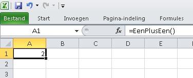 Voorbeeld VBA functie
