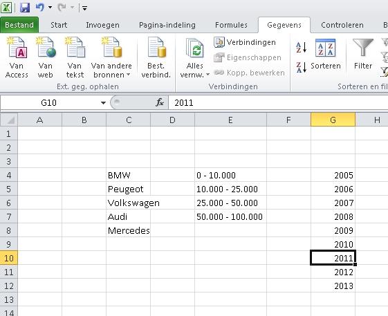 Lijstje voor gegevensvalidatie