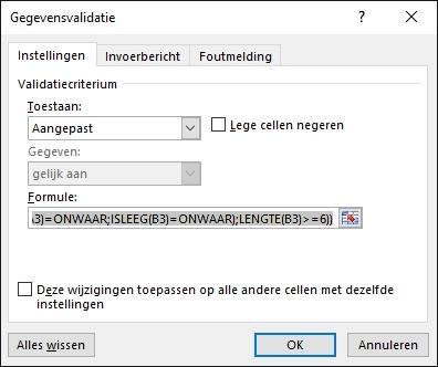 Excel gegevens validatie