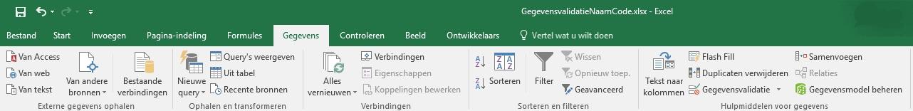Lint gegevensvaldiatie Excel