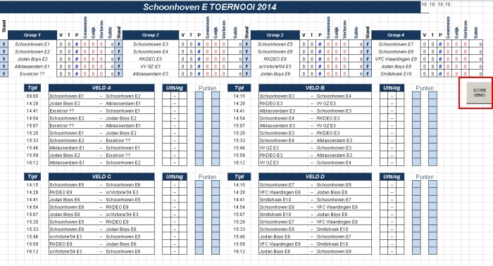 Toernooi Schema 4 Poules Excel